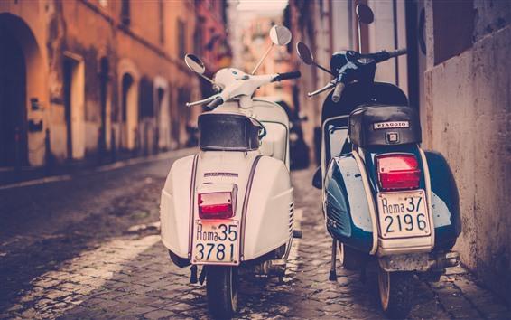 壁紙 2台のオートバイ、ストリート、レトロなスタイル、都市