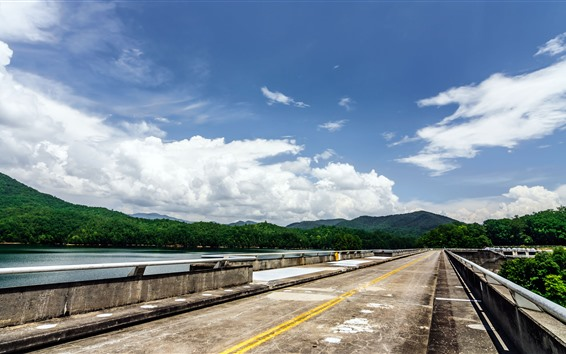 Wallpaper USA, Carolina, road, lake, trees, mountains, sky, clouds