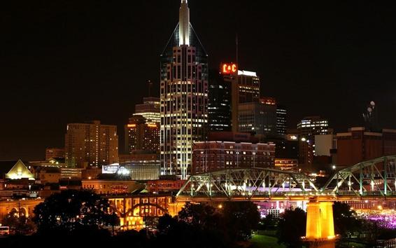 Wallpaper USA, Nashville, city, night, buildings, bridge, lights