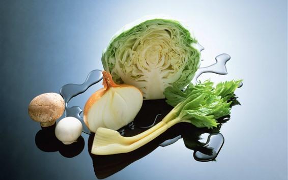 Papéis de Parede Vegetais, repolho, cebola, cogumelo, água