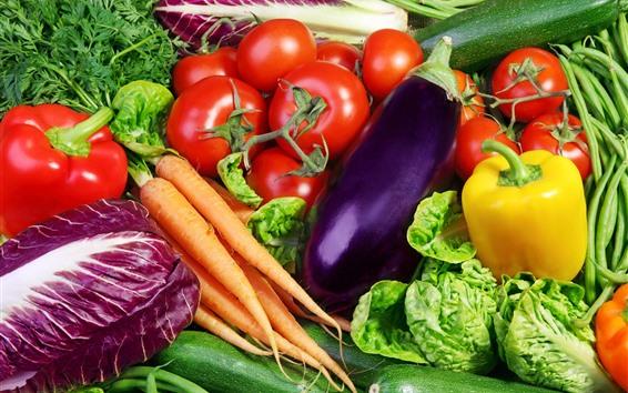 Papéis de Parede Legumes, cenoura, tomate, pepino, repolho, pimenta