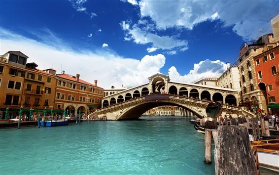 Обои Венеция, река, мост, Италия