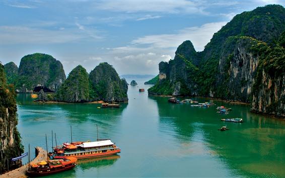 壁紙 ベトナム、海、ボート、山