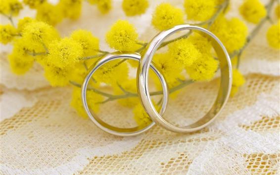 Wallpaper Wedding rings, yellow flowers