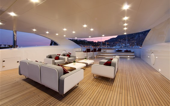 Wallpaper Yacht, interior, chairs, sofa