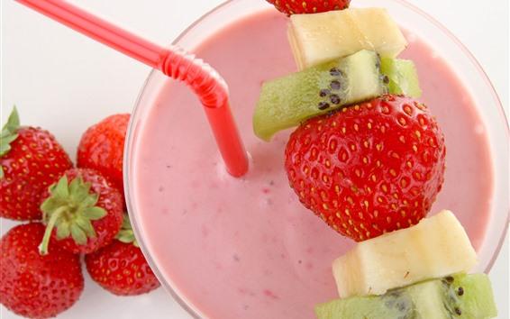 Hintergrundbilder Joghurt, Erdbeeren, rosa