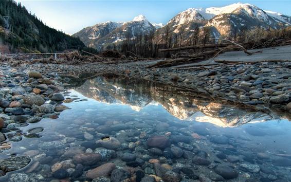 Обои Национальный парк Йохо, Канада, горы, камни, лужа