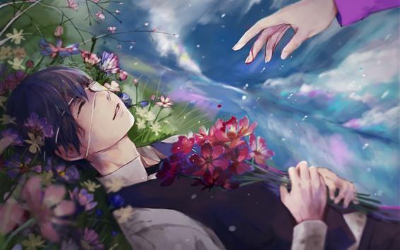 壁紙 アニメの少年、花、手
