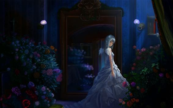 Fond d'écran Anime girl, nuit, roses, ailes, ange