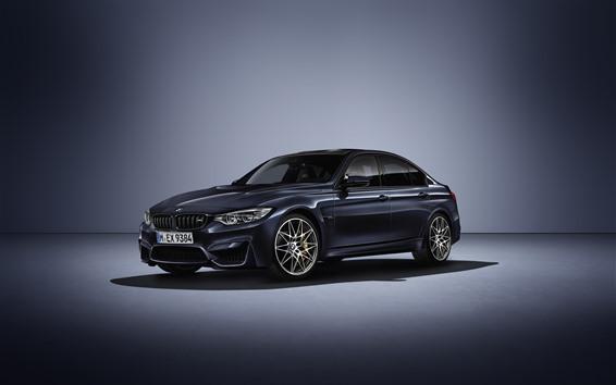 Wallpaper BMW M3 black car side view