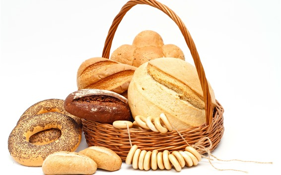Wallpaper Basket, bread, food, white background