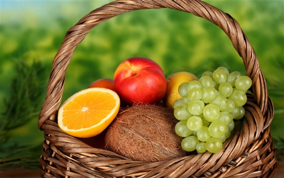 壁紙 バスケット、ブドウ、オレンジ、桃、レモン