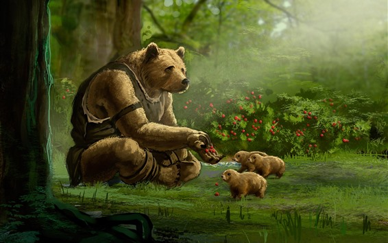 Wallpaper Bear, cubs, forest, berries, art painting