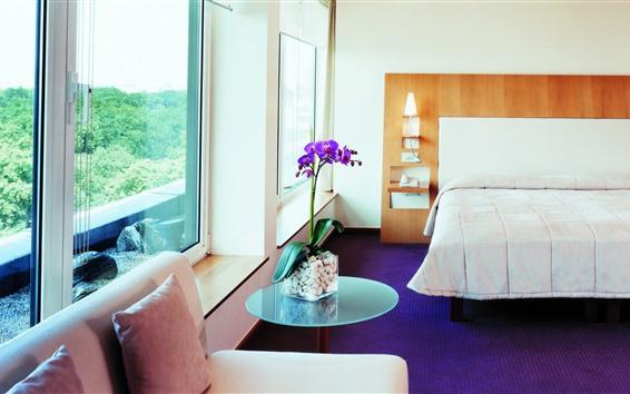 Wallpaper Bedroom, bed, window, flowers