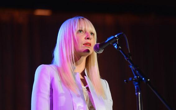 Wallpaper Blonde girl, sing