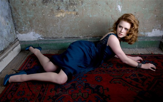 Wallpaper Blue skirt girl, pose, floor