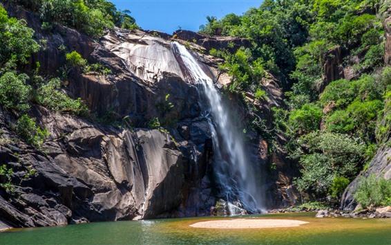 壁紙 ブラジル、滝、崖、岩