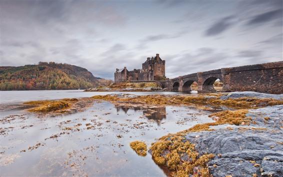Fond d'écran Pont, château, rivière, Ecosse