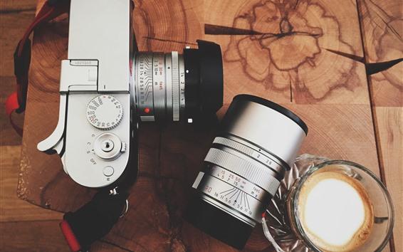 Papéis de Parede Câmera, lente, café