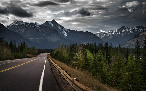Fond d'écran Canada, montagne, route, arbres, nuages, crépuscule
