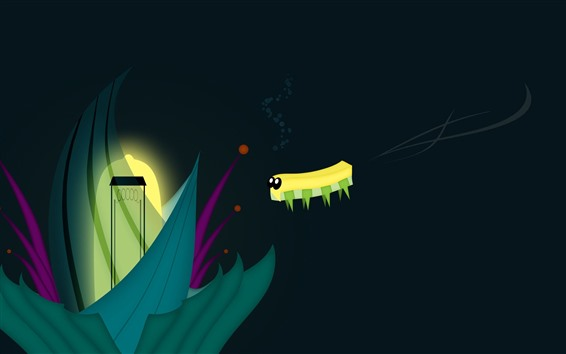 Wallpaper Caterpillar, flower, creative vector picture
