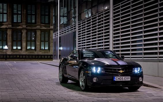 Fond d'écran Chevrolet supercar noir la nuit