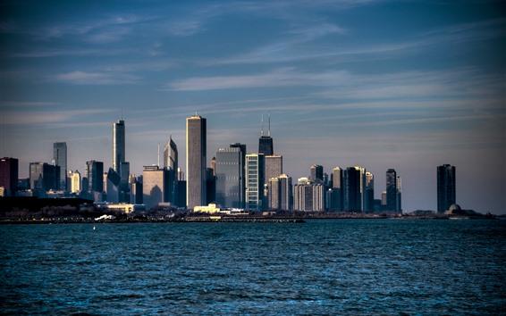 Wallpaper Chicago, city, skyscrapers, sea, USA