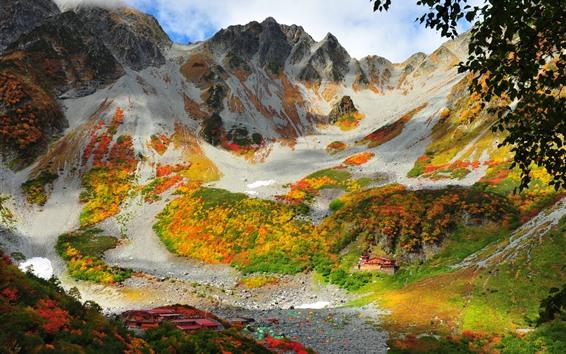 Papéis de Parede China, montanhas, casas, vila, outono