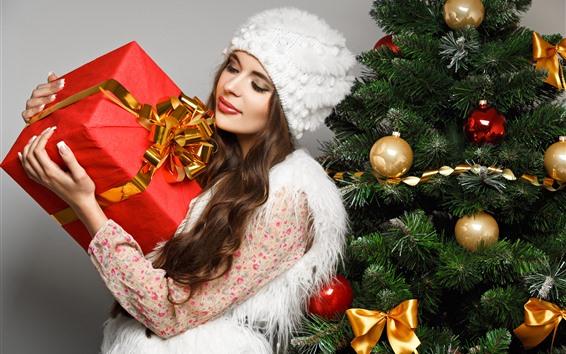 Fondos de pantalla Navidad, niña, regalo, caja, árbol de Navidad