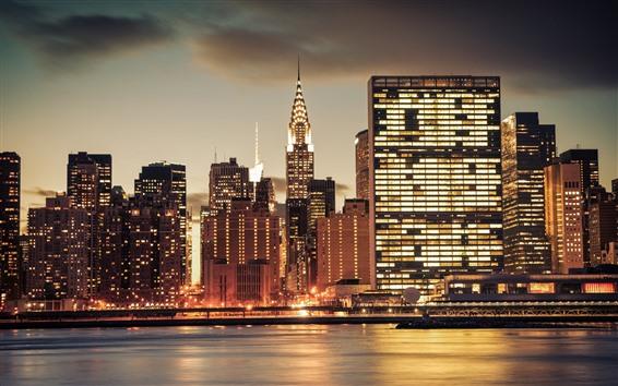 Wallpaper City, USA, skyscrapers, lights, river, night