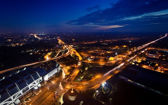壁紙 夜の街、上面図、道路、建物、ライト