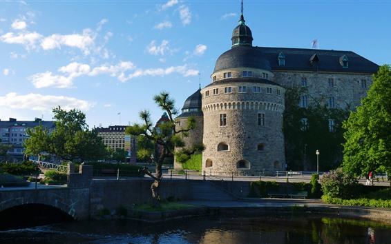 Обои Город, замок, река, мост, деревья