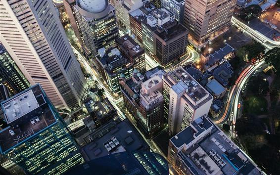 Fond d'écran Ville, nuit, gratte-ciel, routes, lumières, vue de dessus
