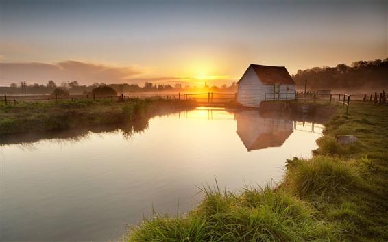 Fond d'écran Campagne, maison, rivière, clôture, brouillard, matin, lever du soleil