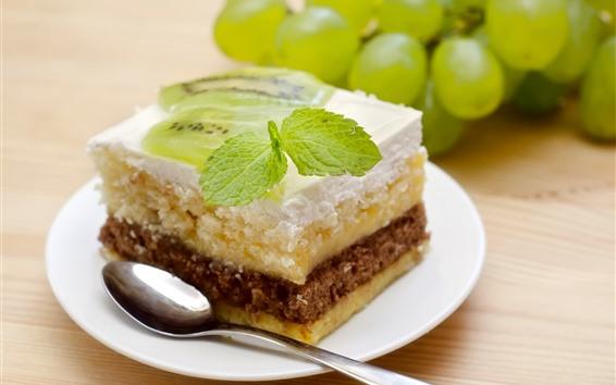 Fond d'écran Dessert, gâteau, feuilles de menthe verte, raisins