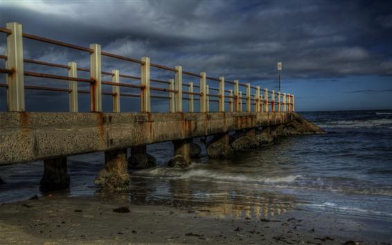Papéis de Parede Cais, ponte, mar, pedras, crepúsculo