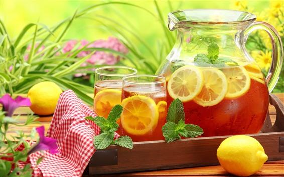 Papéis de Parede Bebidas, limão, copo de vidro, chaleira, folhas de hortelã