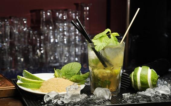 壁紙 飲み物、モヒート、グリーンレモン、角氷