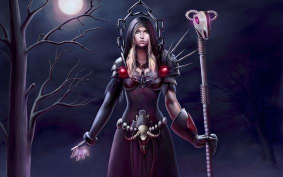 Wallpaper Fantasy girl, warrior, moon, night, tree