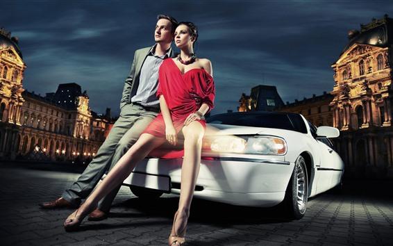 Fond d'écran Fille de mode et garçon, voiture