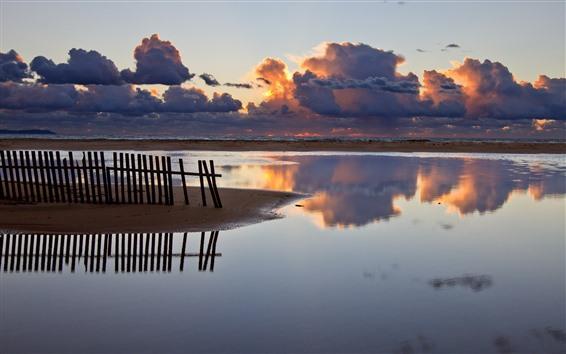 壁纸 栅栏,海岸,海洋,厚厚的云彩,日落