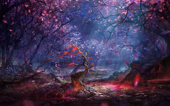 Fondos de pantalla Bosque, árboles, flores, rayos de luz, cuadro de arte.