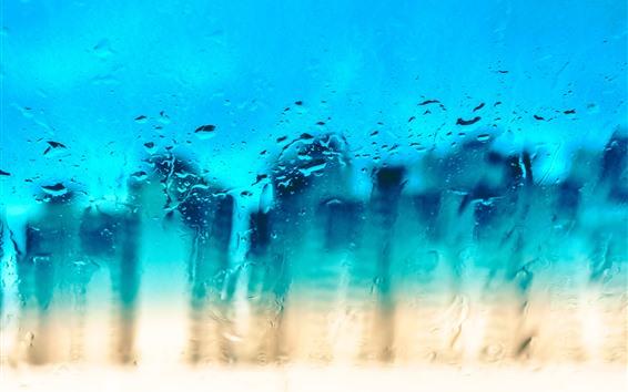Fondos de pantalla Superficie de vidrio, gotas de agua, azul