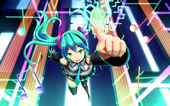 Wallpaper Hatsune Miku, blue hair anime girl, touch