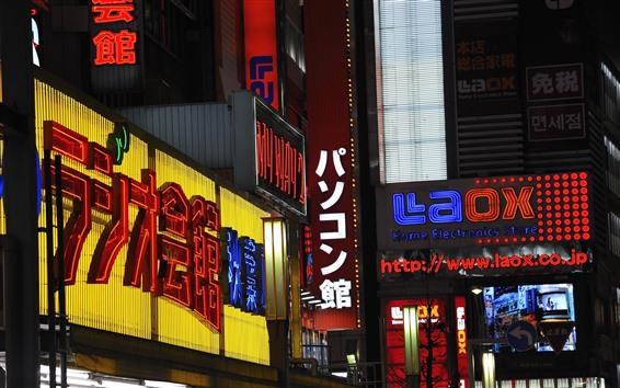 Papéis de Parede Japão, cidade, rua, noite, placas