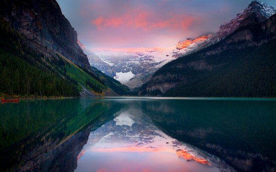 Wallpaper Lake, mountain, snow, water reflection, dusk