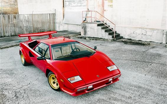 Papéis de Parede Lamborghini LP5000 supercarro vermelho clássico