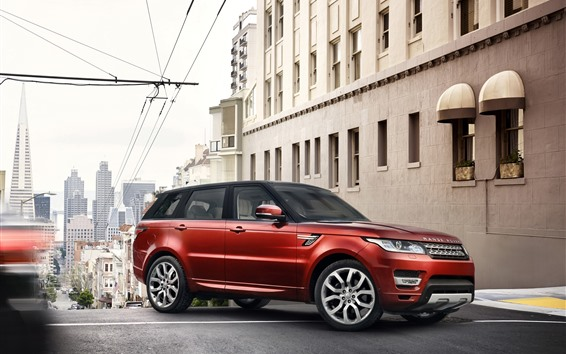 Wallpaper Land Rover Range Rover, red SUV, city, road