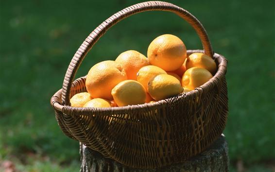 Wallpaper Lemon and orange, basket