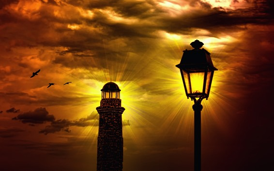 Wallpaper Lighthouse, lamp, clouds, night, light rays, birds